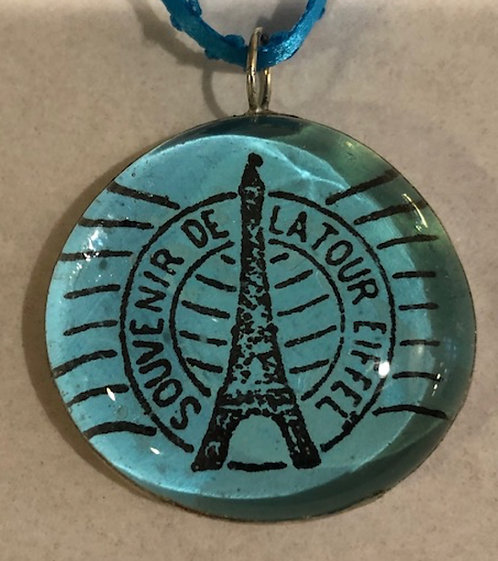 Soldered Paris Postmark Pendant