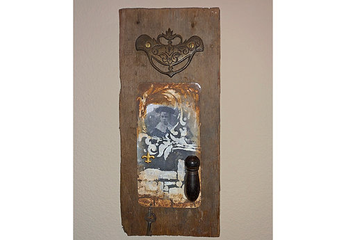 KEY TO THE FUTURE Found Object Collage Metal Art Card on Old Barn Wood