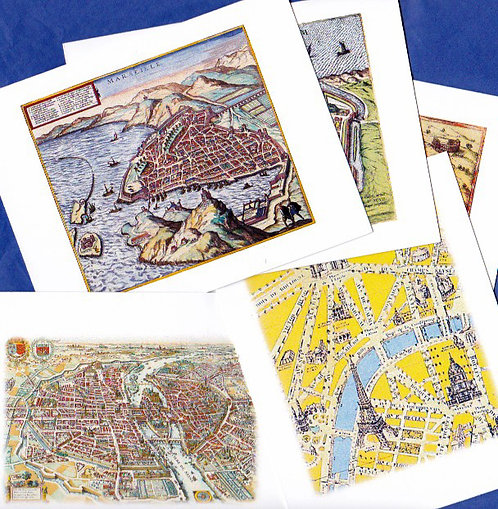 Boxed Set of 5 Note Cards of Antique French Maps