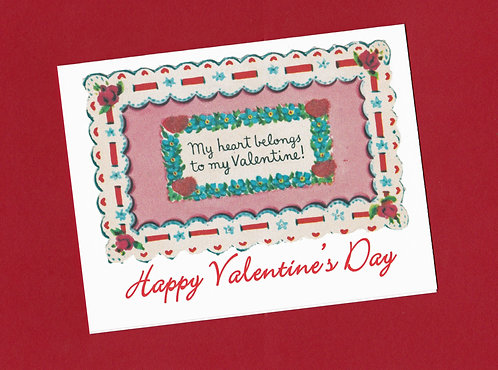 Valentine Greeting Note Card - Vintage - My Heart Belongs to You