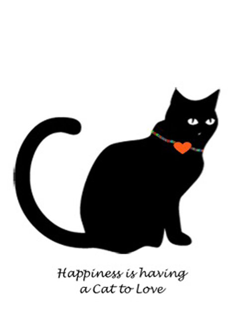 Greeting Card - Happiness is a Cat to Love