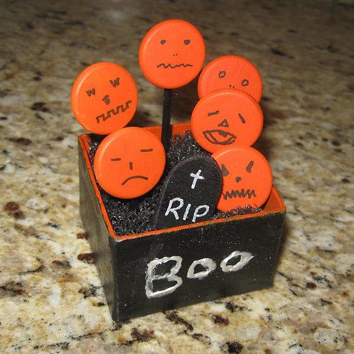 Halloween Jack-o-Lantern Graveyard Assemblage Scene Box