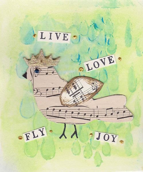 Greeting Card - Live, Love, Fly, Joy