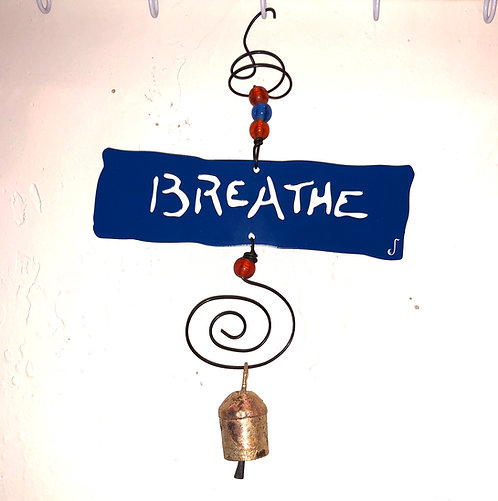 BREATHE Affirmation Hanging Wind Chime by Jendala