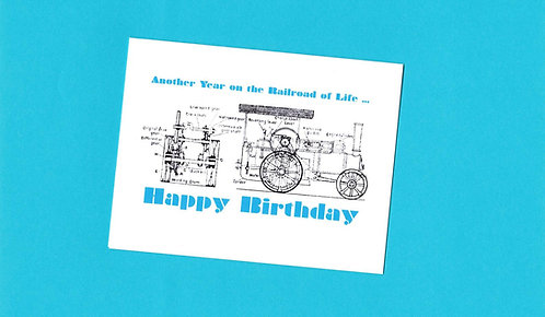 Birthday Day Greeting Card - Diagram of Antique Tractor