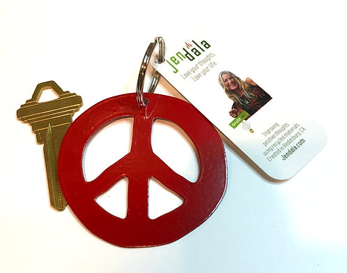 Peace Sign Keychain Key Ring with Ornament by Jendala