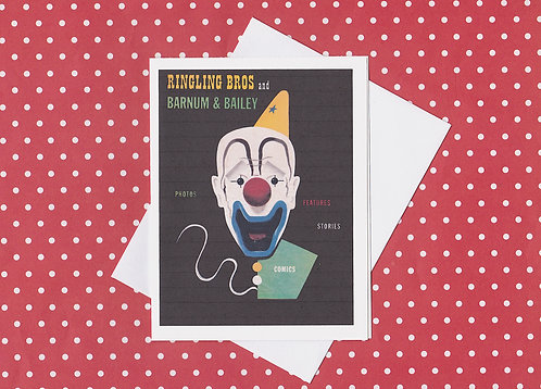 Greeting Note Card - Clown Barnum Bailey Ringling Brothers Circus