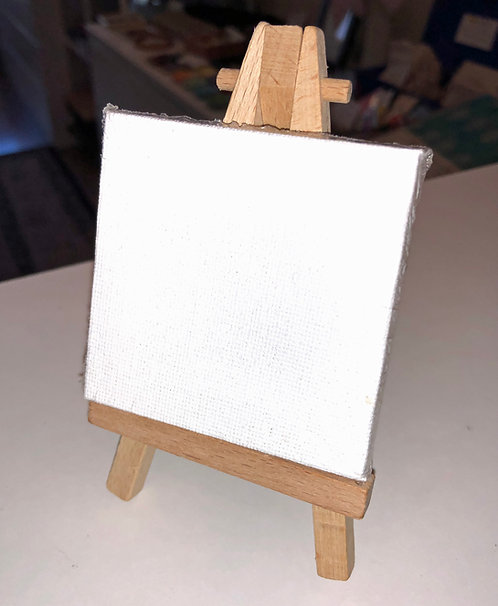 Miniature Mini Wood Art Easel and Canvas Set