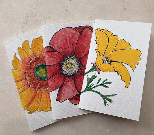 Pkg of 3 Handmade Pocket or Purse Sketch Notebooks Flower Covers 3x5