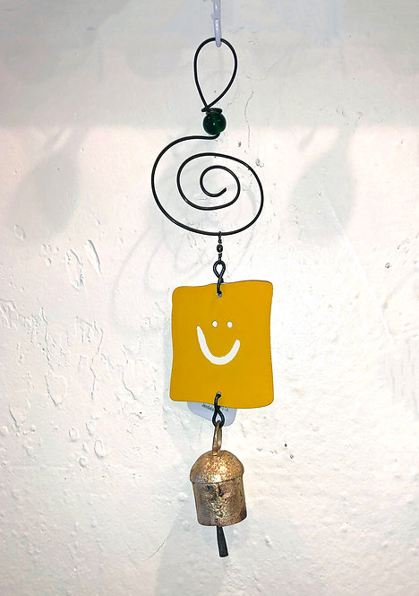 Smile Smiley Face Ornament Hanging Wind Chime by Jendala