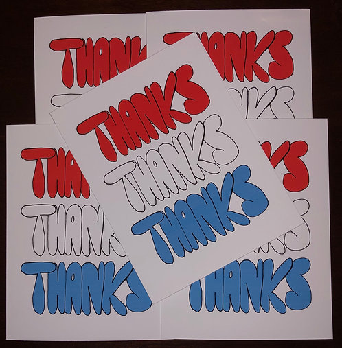 Thank You - Thanks Thanks Thanks - Note Cards Boxed Set of 5