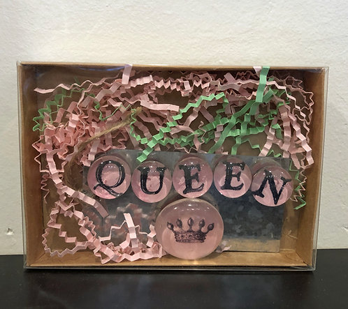 Handmade Glass Magnet Set in Box - QUEEN