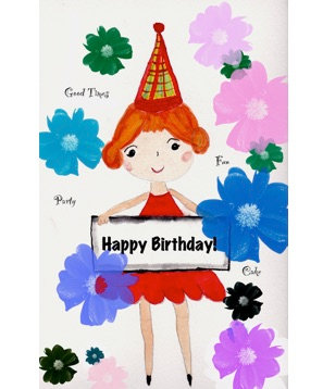 Birthday Card - Girl in Red Dress HB