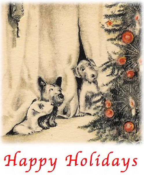 Christmas Card - Puppies Happy Holidays
