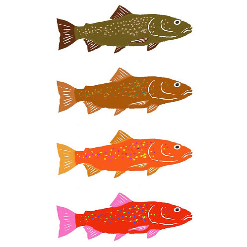 Large Note Card - Four Colorful Trout Fish