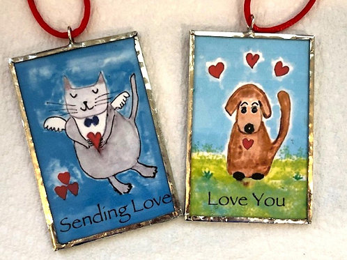 "Love Cat & Dog Ornament 2""x3"""