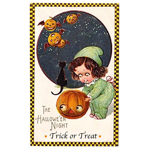 Halloween Card - Pumpkin Girl