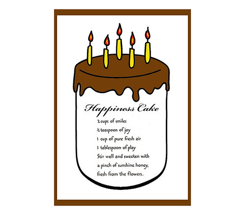 Birthday Greeting Note Card - Happiness Cake