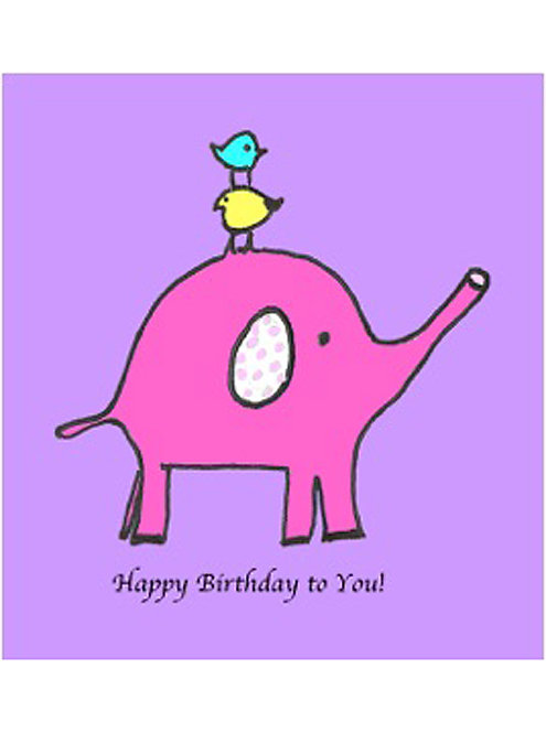 Birthday Card - Pink Elephant Birthday