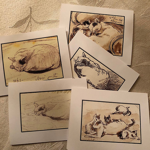 Sleeping Cat Note Cards Greeting Cards Boxed Set of 5 #2