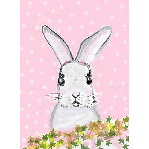 Greeting Card - Bunny on Pink