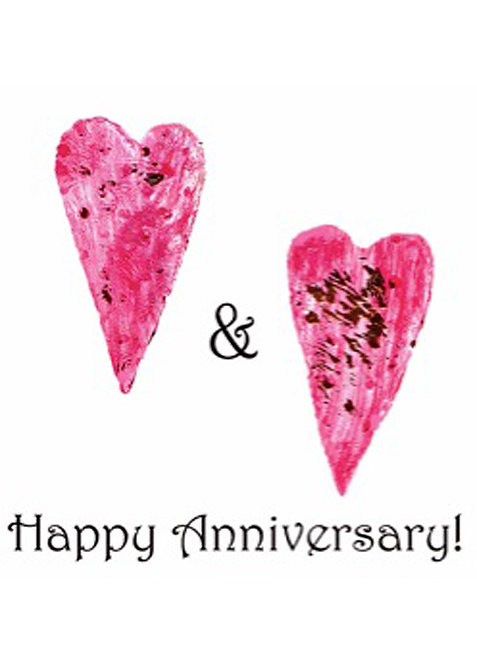 Anniversary Card - Two Hearts Happy Anniversary