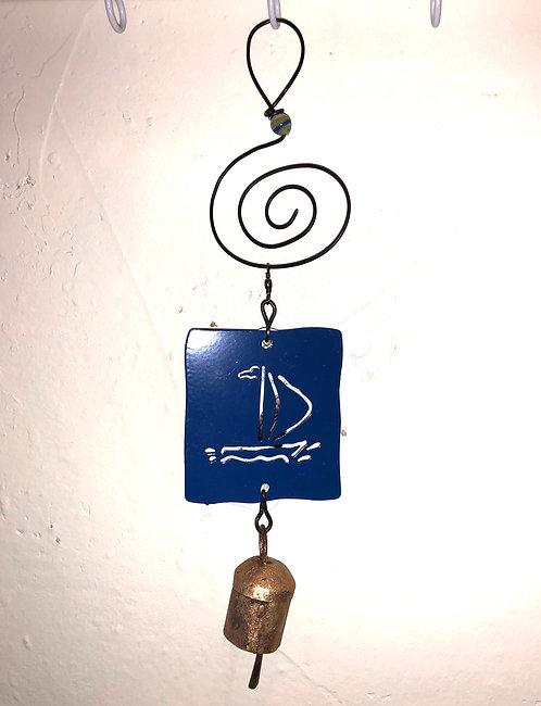 Sailboat Wind Chime Hanging Ornament by Jendala