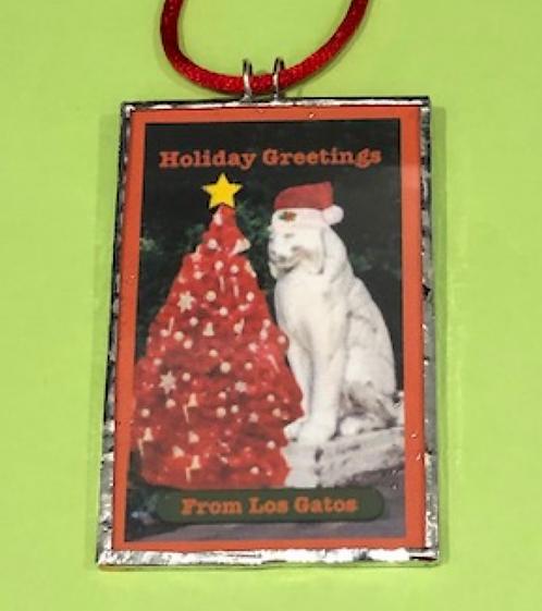 Handmade  Two-Sided Christmas Los Gatos Holiday Ornament