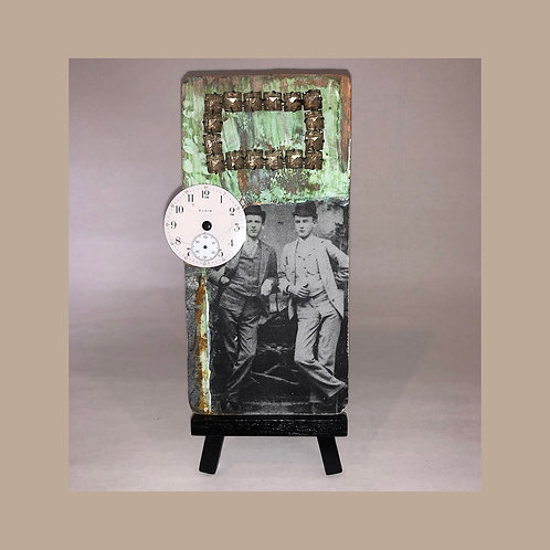 VICTORIAN DANDIES Found Object Collage Metal Art Card with Mini-Easel