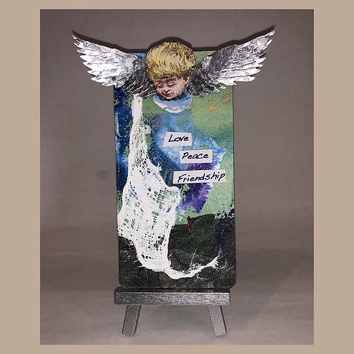 LOVE PEACE & FRIENDSHIP Found Object Collage Metal Art Card with Mini-Easel