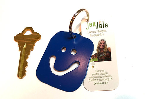 Happy Face Smile Keychain Key Ring with Ornament by Jendala