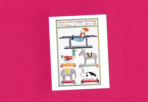 Birthday Card with Vintage Children's Toys ... from days gone by