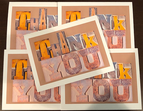 Thank You Letter Press Blocks Note Cards Boxed Set of 5