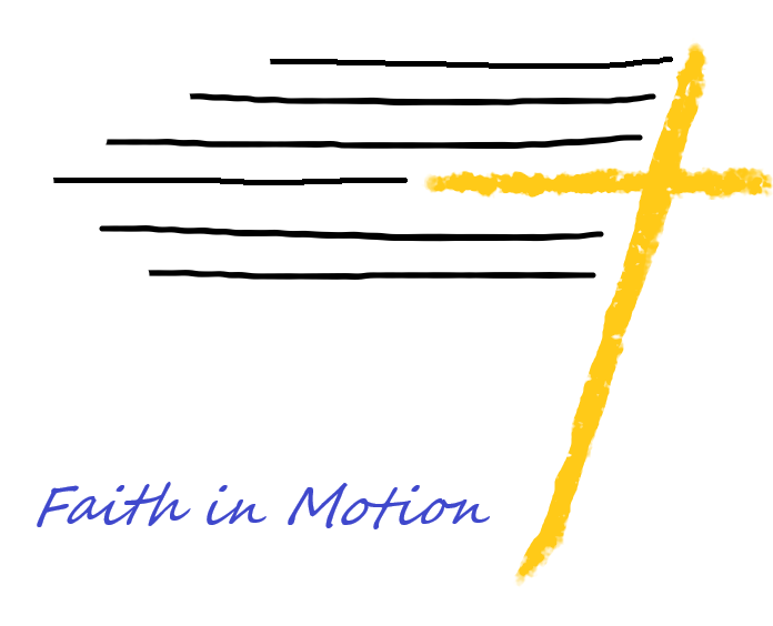 Faith in Motion looks like a cross swiftly moving from left to right, as if by a strong wind.