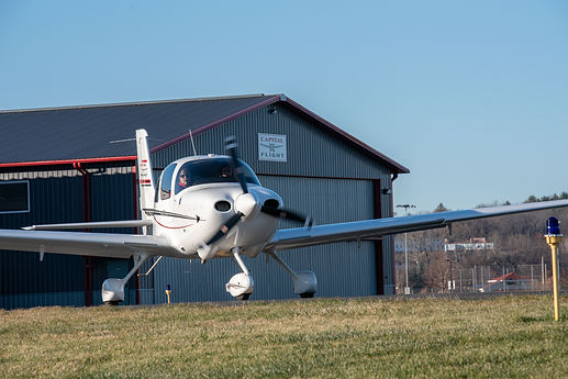 Capital Flight's Cirrus SR20 trainer aircraft taxi's at Middleton Municipal Airport