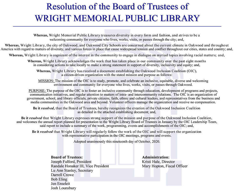 OIC Resolution - Wright Memorial Public