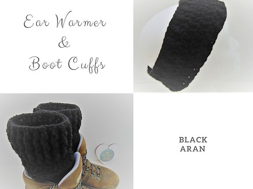 Black ear warmer and boot cuffs combo from Adventure Accessories, gifts for outdoors.