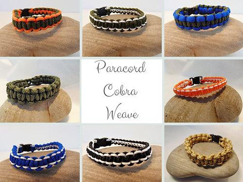 Paracord Bracelet - Cobra Weave, Plastic Buckle