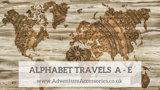 Alphabet travels around the world, letters A to E. Adventure Accessories