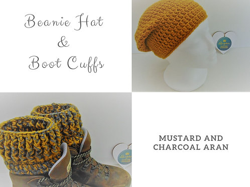 Beanie Hat and Boot Cuffs - Mustard and Charcoal