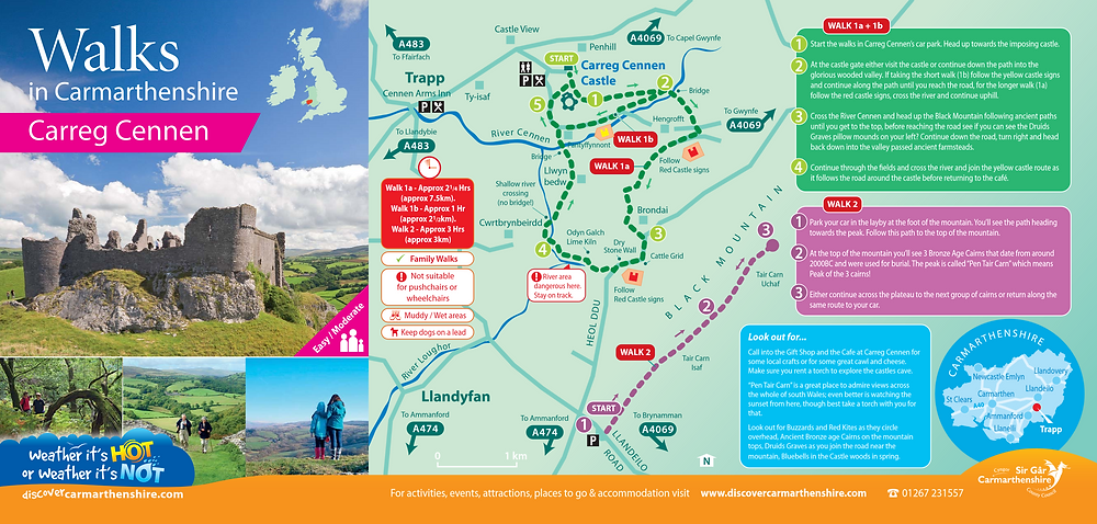 Walks in Carmarthenshire - Carreg Cennen - Adventure Accessories
