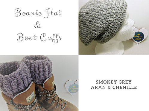 Beanie Hat and Boot Cuffs - Grey. Gifts for Outdoors, Adventure Accessories
