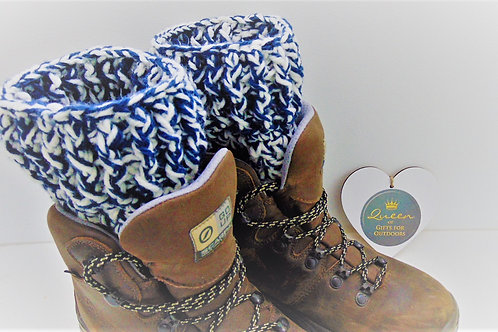 Boot Cuffs in Navy and White. Gifts for outdoors from Adventure Accessories