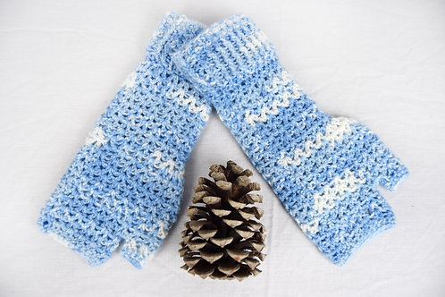 Hiking Mitts - Blue and White, Handmade Gifts for Outdoor Enthusiasts, Adventure Accessories