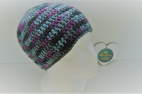 Brimless Beanie Hat - Purple and Grey. Gifts for Outdoors, Adventure Accessories
