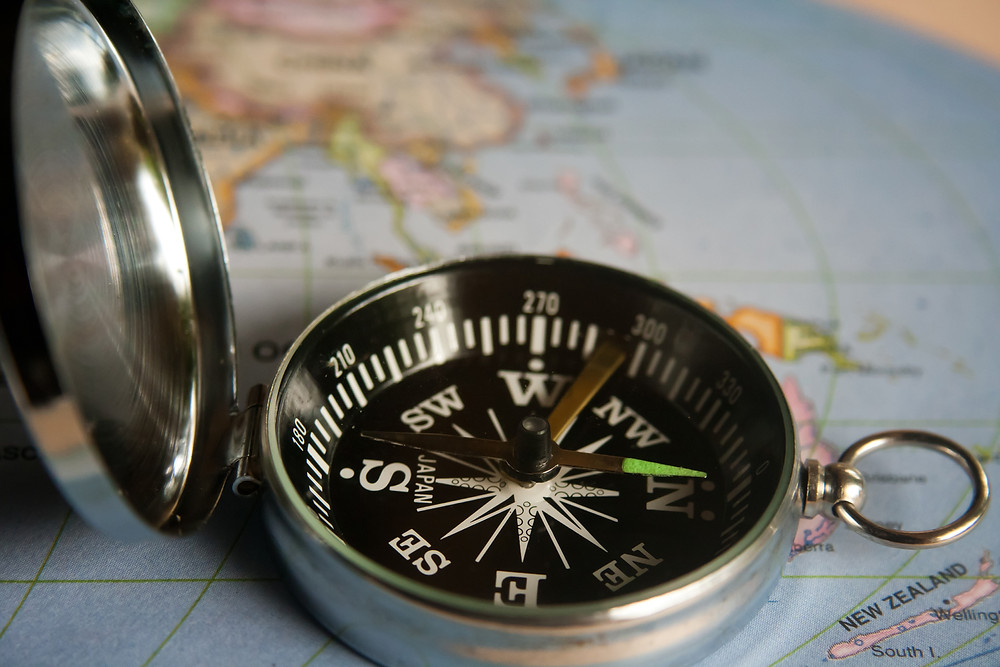 Compass and Map, Alphabet Travels. Adventure Accessories