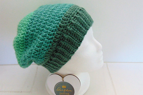 Slouchy Beanie Hat - Mint Ombre. Gifts for Outdoors, Adventure Accessories