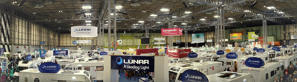 The Caravan, Camping and Motorhome Show, Hall 1 panorama. Adventure Accessories