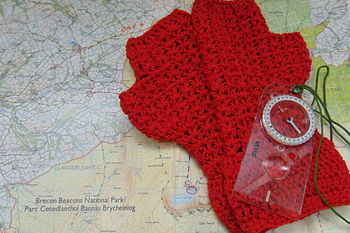Bamboo Cotton Mitts - Red. Gifts for Outdoors, Adventure Accessories
