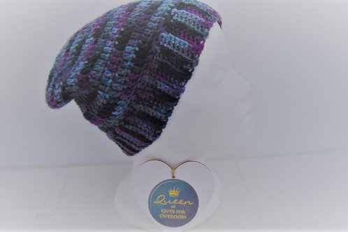 Sluchy Beanie with brim, purple and grey. Gifts for outdoors, Adventure Accessories